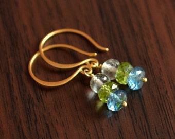 Gemstone Earrings, Blue and Green, Drop Earrings, London Blue Topaz, Lime Peridot, Green Amethyst, Gold Vermeil Jewelry, Free Shipping