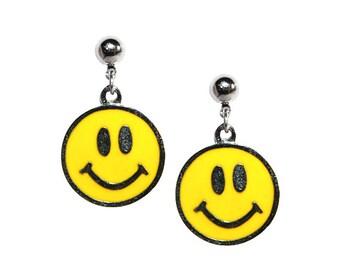 Vintage Smiley Face Earrings 90's - Earrings Happy Face