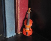 On Sale Vintage Austrian Miniature Violin.  In Case with Bow.