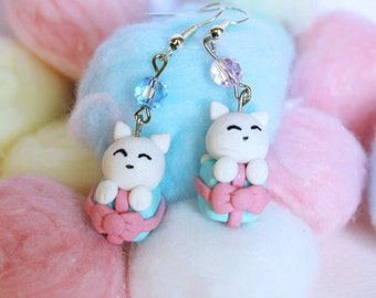 Lolita Kitty miniature gift box earrings sky blue and pink with Czech crystal beads