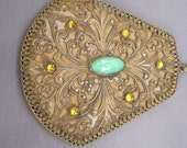 Vintage Brass Mint Green Glass Yellow Rhinestone Mirror Pendant Necklace
