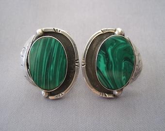 Vintage Sterling Malachite Leaf Earrings