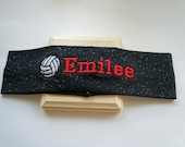 Volleyball GLITTER Stretch Headband PERSONALIZED and CUSTOMIZABLE with your name and colors and many sports available