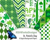 St Patricks Day Digital Backgrounds - Green, White, Shamrocks, Clover, Celtic, Chevron, Stripes, Dots, Argyle, St Patty, PRINTABLE PAPER