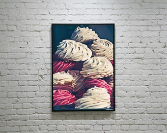 """Meringue Photography """"MERINGUE""""  Paris Meringue Photo, Patisserie, Pink Meringue Photo, White Meringue Photo, Food Photography"""