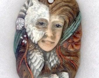 Porcelain Owl Lady Pendant