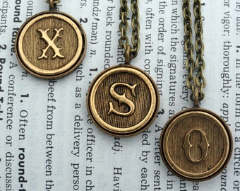 Custom Initial Letter Necklace Wedding Personalized Gift Typewriter Key Bridesmaid  Antique Gold Christmas gift