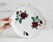 Vintage Royal Standard Rose Plate - Red Velvet Bone China Serving Cake Display