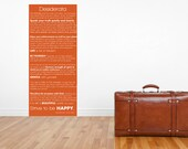 Extra Large Desiderata Orange Gallery Wrapped Canvas Wall Art  20 inches wide by 40 inches Tall with Wood Frame on Back for Easy Hanging