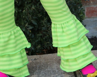 light green and bright green striped triple ruffle leggings sizes 12m - 14 girls