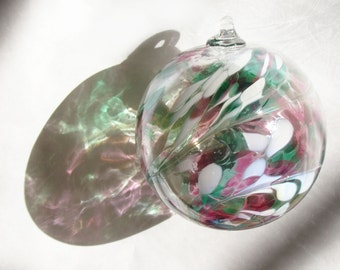 Large Hand Blown Glass Spirit/ Friendship Ball Peppermint Candy