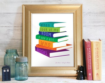 Digital Print, Instant Download, Fandom Print, Wall Art, John Green Quote, Looking for Alaska: Girl Who Loves Books
