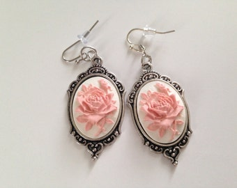 Pink and white rose cameo earrings