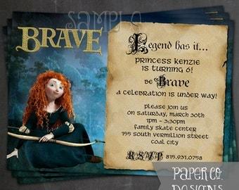 Printable Brave Princess Merida Birthday Invite - Digital File ONLY