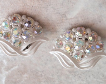 Lightweight White Earrings Plastic AB Rhinestones Floral Bouquet Clip On Vintage 030515SC