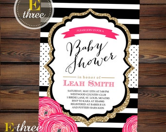 Printable Baby Girl Shower Invitation - Modern Black, White, Gold, and Hot Pink - Stripes, Polka Dots and Flowers