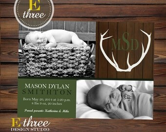 Antler Birth Announcement - Rustic Baby Boy's Announcement - Hunter Green, Brown, Wood