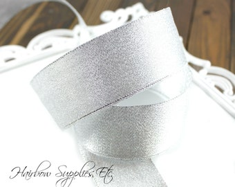 Silver Metallic Ribbon 3/4 inch - Hairbow Supplies, Etc