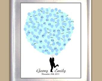 Wedding Guest Book Alternative Bride&Groom Silhouette with Balloons, Personalized Wedding Guestbook Alternative - DIGITAL PRINTABLE JPEG