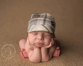 newborn BOY fabric hat with button (Tim) - photography prop - plaid, cream, blue, tan, grey