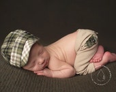 newborn boy HAT & PANT set (Nyxon) - photography prop - tan, green, cream, white, black, grey, khaki, pockets