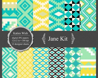 Instant Download Jane Aztec Tribal digital paper kit small commercial use jpg backgrounds for invitations, scrapbooking, cardmaking, crafts