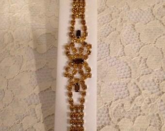 GLAMOUROUS AMBER TONE Rhinestone Bracelet - All prong set stones!