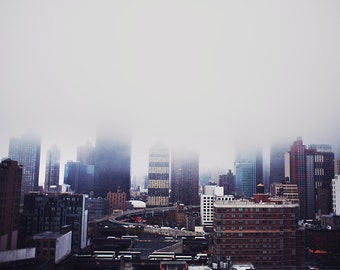 Manhattan Buildings in Fog - 8x10 Fine Art Photograph, Skyline, New York, Travel, NYC, Wall Art