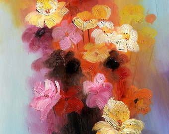 ORIGINAL Oil Painting Flowers For Me  23 x 30 Flowers Colorful Red Orange Pink Purple Abstract Brush ART By MARCHELLA