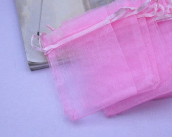 organza gift bags / Pink gift bags  2 1/4''x3 1/2''