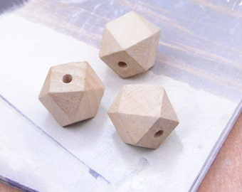 Geometric Wooden Beads - Natural Wood beads unfinished 20mm