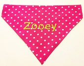 Monogrammed Dog Bandana - Hot Pink Polka Dots - Pink and Green - Personalized Dog Bandana - Personalized Dog Scarf