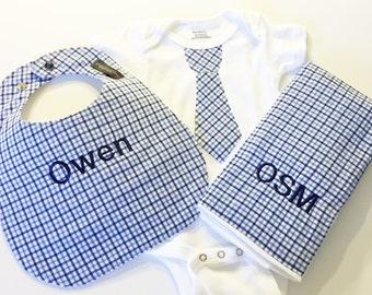 Baby Shower Gift - Boy Gift Set - Monogrammed Bib, Monogrammed Burp cloth & Tie Bodysuit - Monogrammed gift - Baby Boy Gift Set