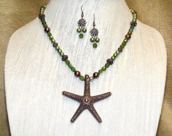 Starfish Necklace in Copper and Olive Green with matching earrings - summer beach sealife seashore green and brown