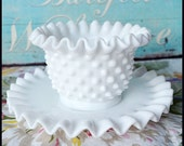 Vintage Fenton Milk Glass Mayonnaise Bowl and Underplate