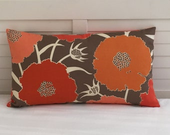 Thomas Paul for Duralee Thicket in Melon Modern Flower Design Indoor Outdoor Lumbar Pillow Cover