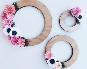 Felt and wood wreath trio