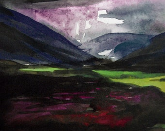 Poison Glen, A4 Fine Art Print of Watercolor & Ink Scottish Highlands Landscape Painting