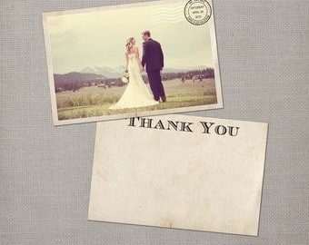 "Wedding Thank You Card, Wedding Thank You Cards, Thank You Note Cards, Vintage cards, thank you card - the ""Gia"""