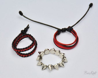 Mr. Devil - 1/3 BJD Dollfie bracelet. Black and red gothic rock look adjustable