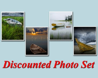 Wooden Row Boat Photo Set of 4 Seascape Photographs, PEI, Maine, Lake Huron, Morning has Broken, Mount Desert Island, Fine Art Photographs