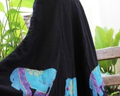Extra Wide Black Cotton Skirt with Stitched Cotton Elephants RRE0403-15