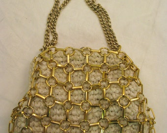 Vintage 60's Chain Link and Raffia Hand Bag I Magnin, Made in Italy