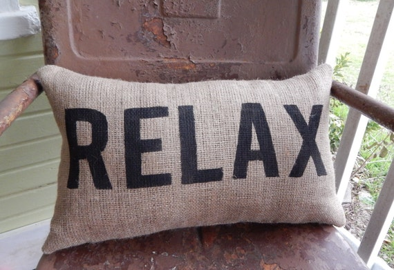 Throw Pillows That Say Relax : Burlap Pillow RELAX Lumbar Decorative Throw Accent Pillow