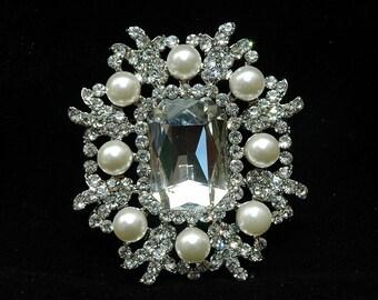 Art Deco Pearl Crystal Brooch, Wedding Brooch,Brooch Headpiece, Bridal Crystal Brooch, Women Gift