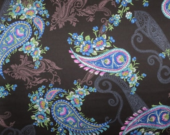 Elegant Blue on Black Paisley Print Pure Silk Charmeuse Fabric--One Yard