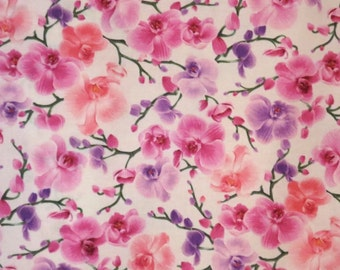 Delicate Pink Orchids on White Print Pure Cotton Fabric--One Yard