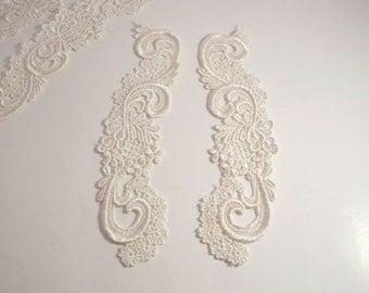 Ivory Venise Lace Floral Appliques--One Pair