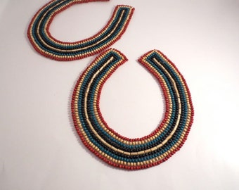 SPECIAL--Colorful Red Teal and Natural Wooden Beaded Collar--One Piece