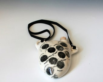 Black and White Flask, Flask with Strap, Hanging Flask, Handmade Wine Flask